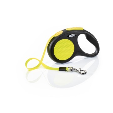 Flexi New Neon - S - 5m Band - Max 15kg - Gul