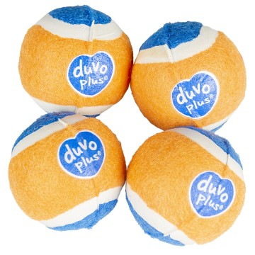Aktiveringslek Duvo - Tennisboll Mini - ø4,2cm - Orange/Blå - 4st - Tyst