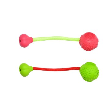 Rubber Dental Ball and Bone with Cord - 6cm - Mix - Utgående!