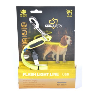 LED Joggingkoppel  - Flash Light Jogger Leash USB - 200cm/2,5cm - Gul