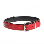 Crystal Chic Leatherette Collar - XS - 18-23cm/14mm - Red