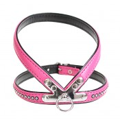 Crystal Chic Leatherette Harness - S - 35cm/14mm - Fuschia