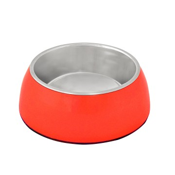 Feeding Bowl + Socket Glossy Uno - ø13,2cm - Red - 450ml