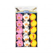 Latex ball chicken/cow/pig mix - 9,5cm - Mix - Levereras i Display
