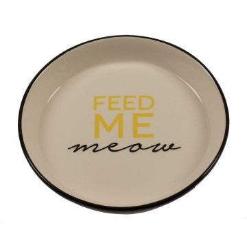 Feeding Bowl Stone Feed Me Meow - ø15,5cm - Black