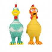 Latex standing chicken/chicken with glasses - 12x9x27cm - Mix