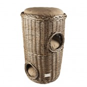 Provence Wicker Scratching Barrel & Cushion - 50x50x80cm
