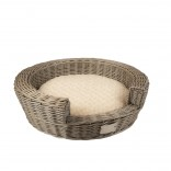 Provence Wicker Basket Step-In & Cushion - 62x62x18cm