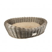 Provence Wicker Basket Oval & Cushion - 90x71x23cm