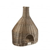 Provence Wicker Igloo & Cushion - 54x37x73cm