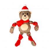 Xmas Plush Knotted Bear - 31x14x8cm