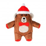 Xmas Plush Square Bear - 24x19x6cm