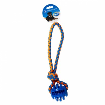 Hundlek Duvo - TPR Ball with rope - 30x7x7cm - Blå/orange - Tyst - Ny2020 - Ny2020