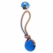 Hundlek Duvo - TPR Squeaky Ball with rope - 32x8,5x8,5cm - Blå/orange - Ny2020 - Ny2020
