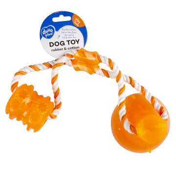 Hundlek DuvoPlus Playtime - Tug `n Chew Toy - 40x10,3x10,3cm - Orange - Ny2020 - Ny2020