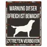Varningsskylt -  Retriever - Tysk Text - 20x25cm