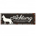 Varningsskylt -  German Shepherd - Tysk Text - 40x14cm