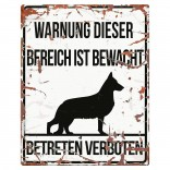 Varningsskylt -  German Shepherd - Tysk Text - 20x25cm