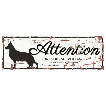 Varningsskylt -  German Shepherd - Fransk Text - 40x14cm