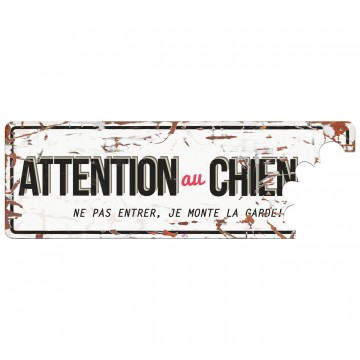 Varningsskylt -  'Attention au Chien' - Fransk Text - 40x14cm