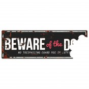 Varningsskylt -  Beware Of The Dog - Engelsk Text - 40x14cm